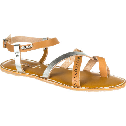 Surf Celebrate summer in the strappy, festive Roxy Women's Carnivale Sandal. In splashy bold color or flashy metallic, this fine leather sandal with padded burnished sock doesn't take itself so seriously. But the toe-ring detail and contrast crisscross design provide tons of sophisticated yet fun style. - $43.20