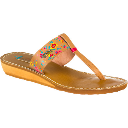 Surf A fabulous-looking leather wedge, or a surfer-girl flip-flop The Roxy Women's Masquerade Sandal, with pretty painted leather strap, wood wedge, and Roxy seaside style, defies such simple categorization. From brunch to pool party to playing in the sand, this classy-sporty sandal knows no limits. - $47.20