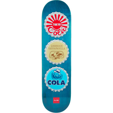 Skateboard Yes, it's true that soda isn't the choice liquid of Chocolate team skaters after dark, but the painted steel lids from bubbly beverages of decades past that adorn the Bottle Caps Skate Deck are so kewl that they deserve recognition ... even if the names are changed to protect the innocent. - $39.96