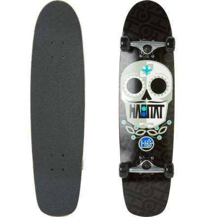 Skateboard If you're not really into tech street skating but you still want a maneuverable setup that'll strap to your backpack, check out the Habitat Sugar Skull Complete Cruiser. The shape is related to a traditional skate deck, but features soft, gooey wheels to absorb the cracks, pebbles, and bumps you'll encounter while cruising or commuting. - $87.96