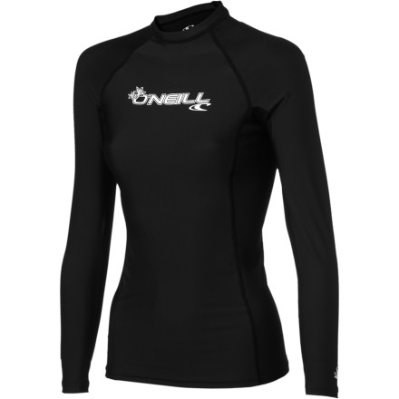 Surf With the same serious-surfer performance but at a value price, the O'Neill Women's Basic Skins Crew Rashguard doesn't make cuts in quality. It has four-way stretch that lets you shred waves comfortably, UPF 50 sun protection, and performance-oriented seamless zones. Hit the waves without breaking the bank. - $29.95