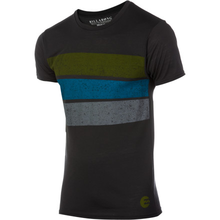 Surf The Billabong Wrap Around Surf T-Shirt sports spiffy stripes and is specifically assembled from special material for splashing around in the surf like a silly sun-loving sidewinder. - $34.95