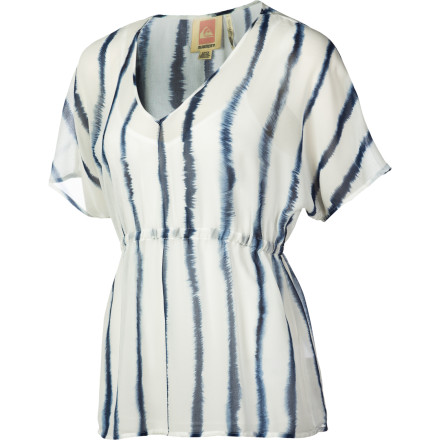 Surf The summery and elegant Quiksilver Women's Indigo Splash Shirt boasts a bohemian-cool print, easy-wear dolman sleeves, and a flattering elasticized waist. A feel-good cotton camisole provides coverage and comfort. Classy, casual, and infinitely cool, this top goes with anything from skinny jeans to a maxi skirt. - $38.68