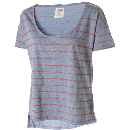 Surf Toss on the Volcom Women's V. Co. Lives Top, grab your backpack, and head out the door to meet your friends at school. This comfy tee has a wide-open neck and short sleeves that help keep you cool when the school's AC breaks down for the gazillionth time. - $17.48