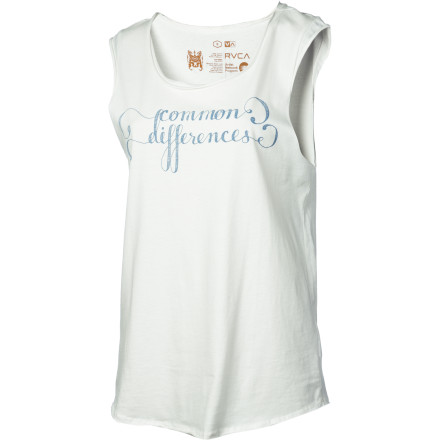 Surf The raw-edged, pigment-dyed, muscle-style RVCA Women's Common Differences Tank Top surprises with its feminine sexiness. In soft, smooth cotton, this relaxed-fit tank features a subtle screen print with a simple message. So maybe it's not so surprising. - $20.96