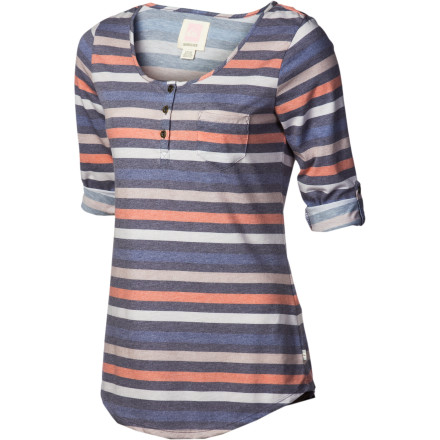 Surf With casual versatility and easy comfort, you really could wear the Quiksilver Women's Dusk To Dawn Henley Shirt that long and then some. Three-quarter sleeves, button front, and summery stripes exude beach-time cool that pays no mind to time. - $44.50
