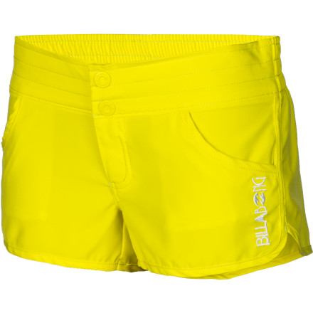 Surf The short and sassy volley-style Billabong Women's Dorothy 2.5in Board Short gives you plenty of mobility to surf it up or do cartwheels in the sand. Light, smooth polyester and an elastic waistband provides everyday comfort, and there are even two front pockets for snack money. - $26.96