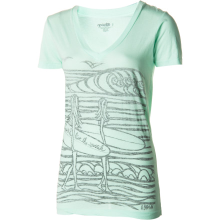 Surf The Rip Curl Women's Surf Chicas V-Neck Short-Sleeve T-Shirt encourages you to hop on your townie and check out the surf breaks for the best possible spot for your morning surf session. - $23.95