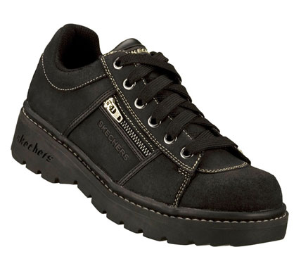 Get active in the versatile SKECHERS Tredds-Interactive casuals.  Scuff resistant leather upper in a sporty casual oxford with stitch and seam detail; zip side pocket and lace up front with metal eyelets.  Cushioned insole for added comfort. - $65.00