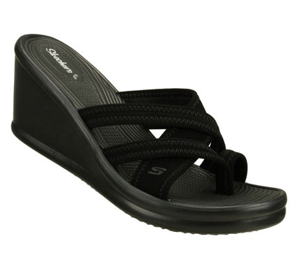 Surf Join the in crowd with the SKECHERS Cali Rumblers-Beautiful People sandal. Soft sueded neoprene fabric upper in a cross strap slide sandal with a toe loop. Stitching detail. - $46.00