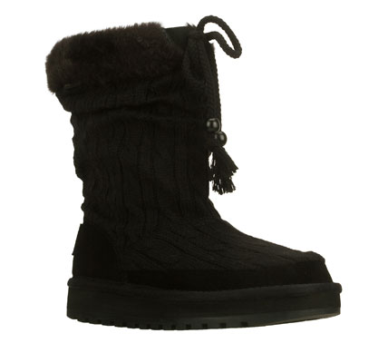 The SKECHERS Keepsakes-Blur boot are a cool choice for cold weather.  Soft sweater knit fabric upper in a slip on casual cool weather mid-calf height boot with stitching and overlay accents. - $51.75