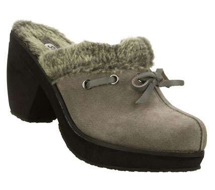 Get down with your bad self in the SKECHERS Disco Bunny - Boogie Down shoe.  Soft suede upper in a backless slip on dressy casual clog with soft faux fur lining and chunky high heel. - $49.00