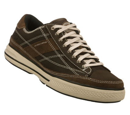Cool retro style with modern comfort comes in the SKECHERS Arcade - Refer shoe.  Smooth leather upper in a lace up casual sneaker with stitching and overlay accents.  Vulcanized midsole. - $55.00