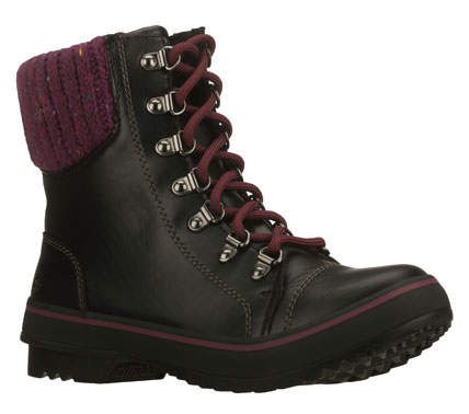 Great big style and comfort go into the SKECHERS Highlanders - Mammoth boot.  Smooth faux leather upper in a lace up casual cool weather ankle boot with stitching and overlay accents.  Sweater knit collar trim. - $75.00