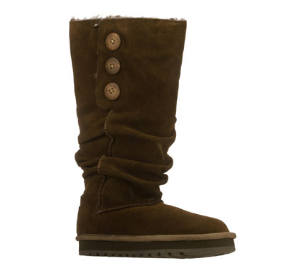 Chilly days are the perfect time to shine in the SKECHERS Keepsakes - Brrrr boot.  Soft all suede upper in a tall mid calf height slip on casual cool weather boot with stitching accents; slouched shaft and faux fur lining. - $75.00