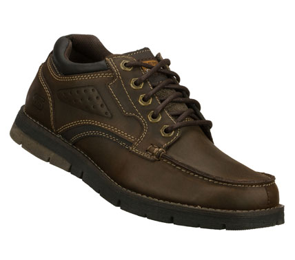 Versatile style; added comfort and a roomier fit combine in the SKECHERS Relaxed Fit: Kane - Harvick shoe.  Smooth oiled leather upper in a lace up casual moc toe oxford with stitching and overlay accents. - $69.00