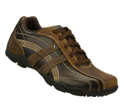 Agree on versatile; comfortable style with the SKECHERS Diameter-Confirmed shoe.  Smooth leather upper in a lace up casual sneaker with stitching; overlay and perforation accents.  Canvas side stripe detail. - $69.00