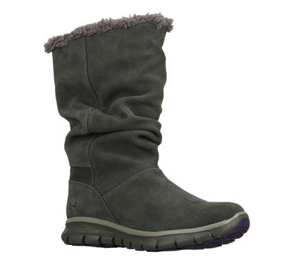 Chilly weather style meets sporty comfort in the SKECHERS Synergy - Solid boot. Soft suede upper in a slip on mid calf height casual cool weather boot with stitching and overlay accents. Sporty flex sole. - $90.00