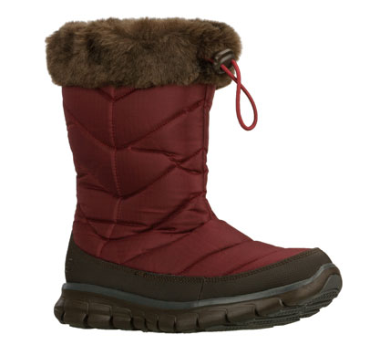 Add some sporty comfort to your cool weather style with the SKECHERS Synergy - Flex Force boot.  Ripstop nylon fabric and synthetic upper in a slip on casual mid calf height cool weather boot with stitching and overlay accents. - $80.00