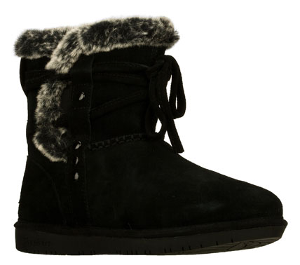 Brave the chilly temps in style with the SKECHERS Shelbys boot.  Soft suede upper in an ankle height slip on cold weather casual boot with stitching and overlay accents. Faux fur lining. - $70.00