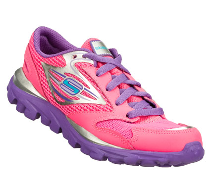 Fitness She'll go like never before wearing the Skechers GOrun shoe.  Smooth leather; synthetic and mesh fabric upper in a lace up athletic lightweight running sneaker with stitching and overlay accent. - $49.00