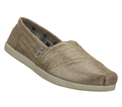 Be good to your style and the world with the SKECHERS Bobs World - Good Deeds shoe.  Soft suede upper with printed metallic tweed design in a slip on casual alpargata flat with stitching and overlay accents. - $45.00
