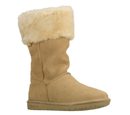 Life a lush life in cozy comfort with the SKECHERS Shelbys - Plushy boot.  Soft suede upper in a slip on mid calf height casual cool weather boot with stitching and overlay accents.  Faux fur lining. - $70.00