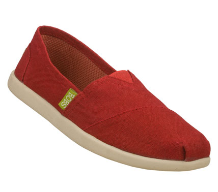 Make every step stylish and earth-friendly with the SKECHERS Bobs World - Reuse shoe.  Soft eco-friendly sacking fabric material upper in a slip on casual alpargata flat with stitching and overlay accents. - $45.00