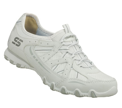 Magical comfort and fun sporty style comes in the SKECHERS Bikers - Conjure Up shoe.  Textured leather and fabric upper in a slip on sporty casual bungee laced sneaker with stitching and overlay accents. - $55.00