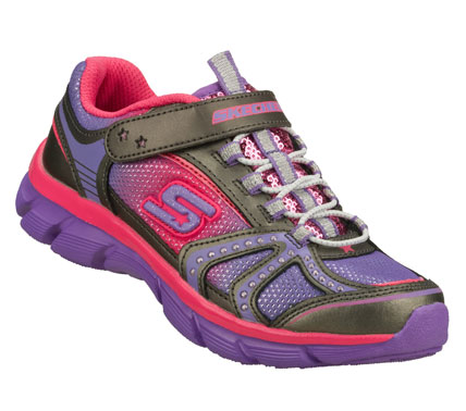 Sporty fun with fashion accents comes in the SKECHERS Twinkle Toes: Lite Dreamz - Skippin Dreamz shoe.  Smooth leather and mesh fabric upper in a bungee laced slip on sporty casual sneaker with stitching and overlay accents. - $45.00