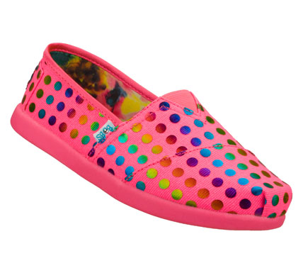 Fun style arrives on the dot with the SKECHERS Bobs World - Pretty Polka shoe.  Soft woven fabric with printed polka dots in a slip on casual alpargata flat with stitching and overlay accents. - $35.00