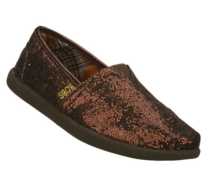 Put some sparkling style into your life with the SKECHERS Bobs World - Earth Papa shoe.  Soft glitter-finish canvas fabric upper in a slip on casual alpargata flat with stitching and overlay accents. - $46.00