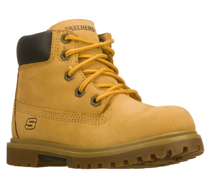 Little tough guys will love the SKECHERS Mecca-Lumberjack boot.  Nubuck leather upper in an ankle height boot with reinforced stitching; overlays and S logo. - $49.00