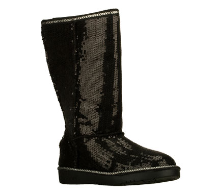 All that glitters is super stylish in the SKECHERS Glamslam - Bonfire Glam boot.  Soft fabric with all over sequin detail in a slip on mid calf casual cool weather boot with stitching and seam detail. - $55.00