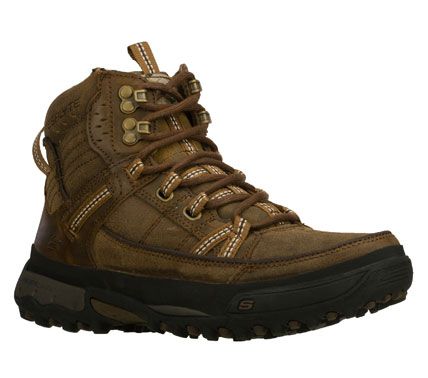 Camp and Hike Tackle the trails in rugged style and comfort with the SKECHERS Padre boot.  Smooth and distressed finish leather upper in a lace up trail hiking casual ankle boot with stitching and overlay accents. - $78.00