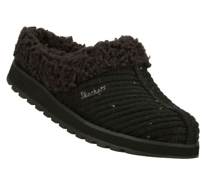 Enjoy the chilly weather in cuddly comfort with the SKECHERS Keepsakes - Snuggle Up shoe.  Soft rib-knit sweater fabric upper in a slip on low backed casual clog with stitching and overlay accents.  Soft lining. - $42.00