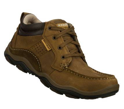 Get the best of both worlds with the SKECHERS Relaxed Fit(R): Bolland - Taber shoe.  Smooth oiled leather upper in a lace up casual high top moc toe oxford with stitching; overlay and perforation accents. Memory Foam insole for added comfort. - $80.00