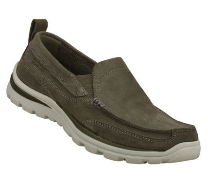 Entertainment Keep your style up to speed with the SKECHERS Relaxed FitA(R): Superior - Pace shoe.  Soft suede upper in a slip on dress casual loafer with stitching and overlay accents.  Memory Foam insole. - $70.00