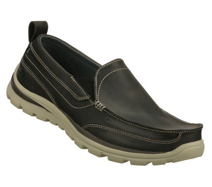 Entertainment Versatile style and great comfort comes in the SKECHERS Relaxed Fit(R): Superior - Gains shoe.  Smooth leather upper in a slip on dress casual loafer with stitching and overlay accents. Memory Foam insole. - $75.00