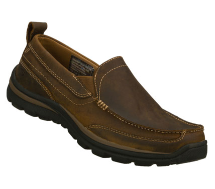 Entertainment Versatile style and great comfort comes in the SKECHERS Relaxed FitA(R): Superior - Gains shoe.  Smooth leather upper in a slip on dress casual loafer with stitching and overlay accents. Memory Foam insole. - $75.00