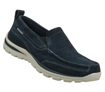 Entertainment Keep your style up to speed with the SKECHERS Relaxed Fit(R): Superior - Pace shoe.  Soft suede upper in a slip on dress casual loafer with stitching and overlay accents.  Memory Foam insole. - $69.00