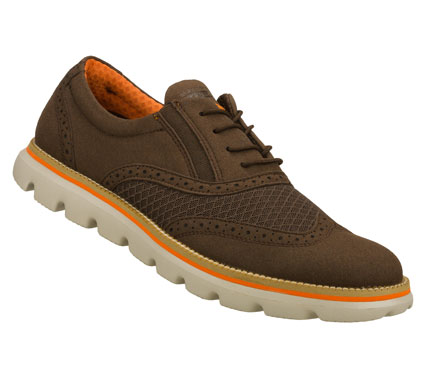 Iconic design and premium materials fuse with innovative SKECHERS GOimpulse Sensor technology to achieve the ultimate in comfort and style.  SKECHERS On the GO - Ronin has a sueded fabric and mesh fabric upper in a dressy wing tip casual oxford design. - $65.00