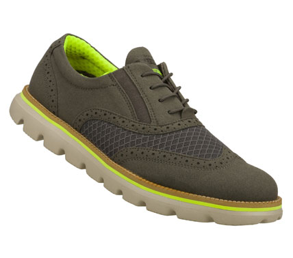 Iconic design and premium materials fuse with innovative SKECHERS GOimpulse Sensor technology to achieve the ultimate in comfort and style.  SKECHERS On the GO - Ronin has a sueded fabric and mesh fabric upper in a dressy wing tip casual oxford design. - $80.00
