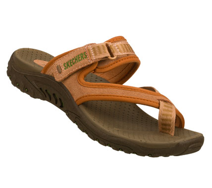 Surf Beach style and comfort is in the SKECHERS Reggae-Rasta sandal. Nubuck and web fabric upper cross strap comfort thong sandal with an adjustable slide strap. - $49.00