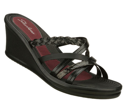 Surf Mix things up with electric results in the SKECHERS Cali Rumblers - Sparks Fly sandal.  Smooth matte or metallic faux leather in a strappy slide wedge heeled sandal with braided; textured and print strap details. - $46.00