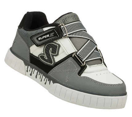 Skateboard He'll love the fun skater style of the SKECHERS Double Noll - Cryptic shoe.  Smooth leather; synthetic and fabric upper in a zigzag strap closure casual skate sneaker with stitching and overlay accents. - $45.00