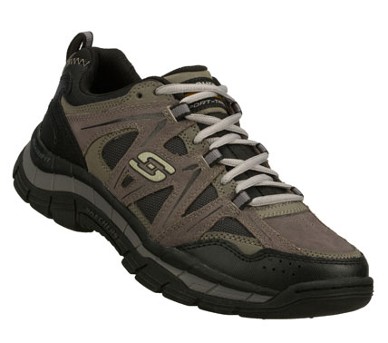 Give a new meaning to perfectly fit in the SKECHERS Relaxed Fit(R): Rig shoe.  Smooth leather; synthetic and cordura mesh fabric upper in a lace up athletic trail sport sneaker with stitching and overlay accents. Memory Foam insole for added comfort. - $70.00