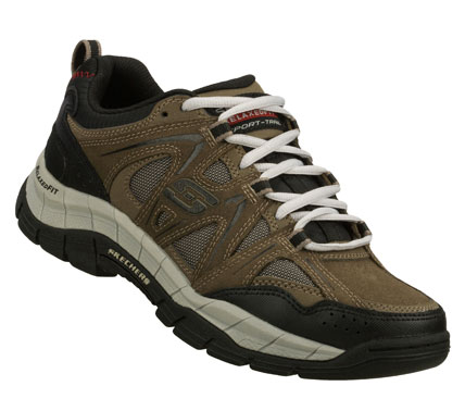 Give a new meaning to perfectly fit in the SKECHERS Relaxed FitA(R): Rig shoe.  Smooth leather; synthetic and cordura mesh fabric upper in a lace up athletic trail sport sneaker with stitching and overlay accents. Memory Foam insole for added comfort. - $70.00
