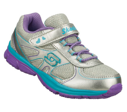 Energetic little girls will love the SKECHERS Speedees shoe.  Smooth leather and mesh fabric upper in a slip on bungee laced sporty casual sneaker with stitching and overlay accents. - $35.00