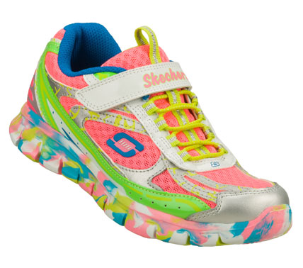 Brighten up her life with sporty color in the SKECHERS Synergy - Kickety Kick shoe.  Smooth leather; synthetic and mesh fabric upper in a bungee laced slip on athletic sporty sneaker with bright color accents. - $46.00